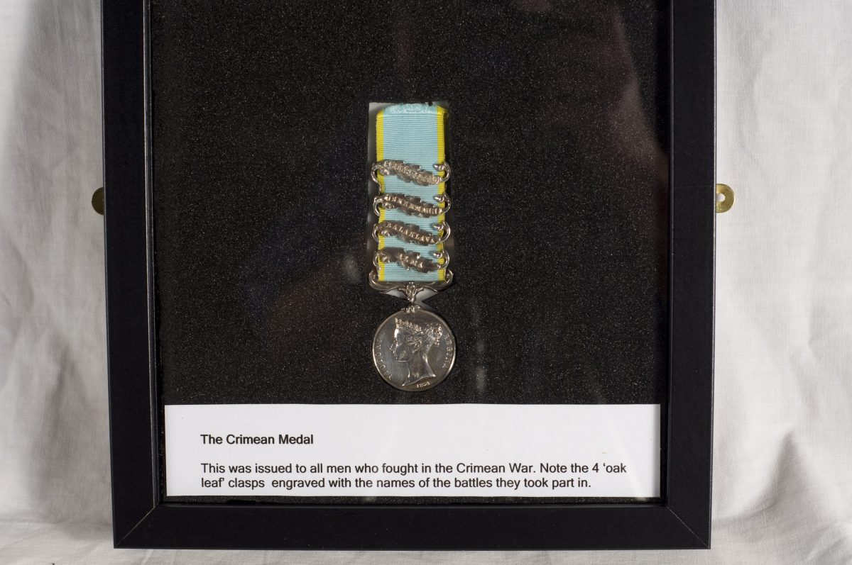 n original Crimean Medal which you can see on display inside the museum. All soldiers who served in the Crimean War were issued with one of these, engraved with the names of the battles they took part in.
