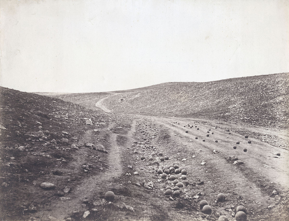 """Roger Fenton's iconic image of the Crimean War """"Valley of the Shadow of Death."""" Digital image courtesy of the Getty's Open Content Program."""